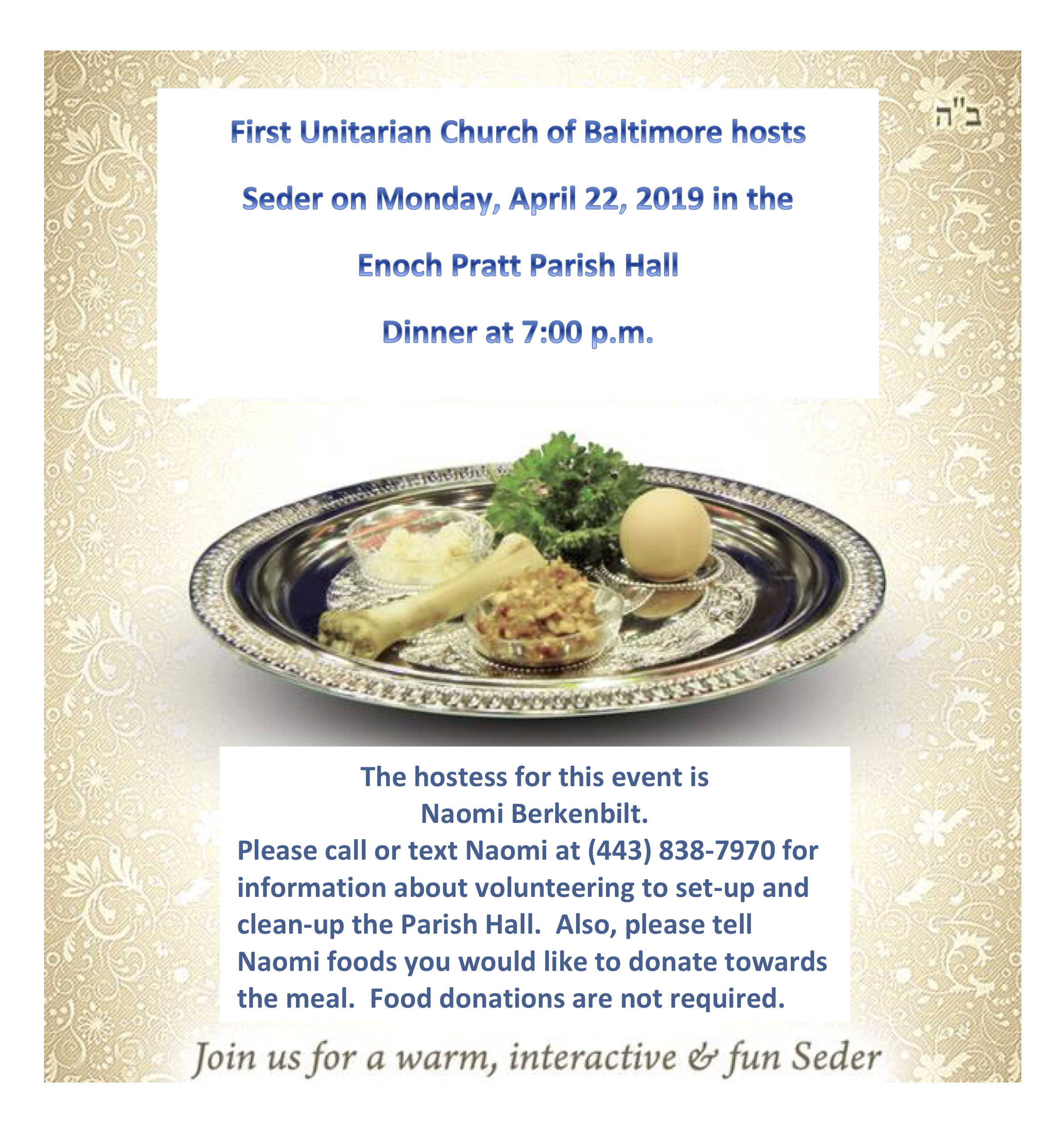 Seder Dinner for Passover - First Unitarian Church of Baltimore